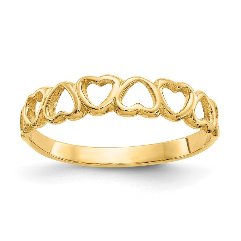 Quality Gold 14k Polished Hearts Ring