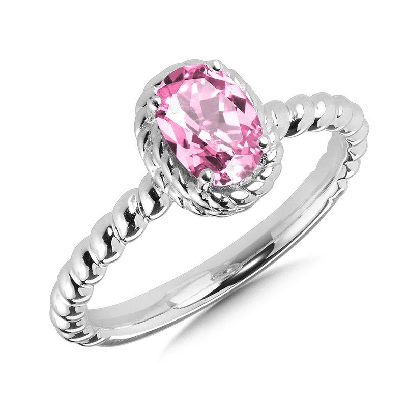 Created Pink Sapphire Ring in Sterling Silver