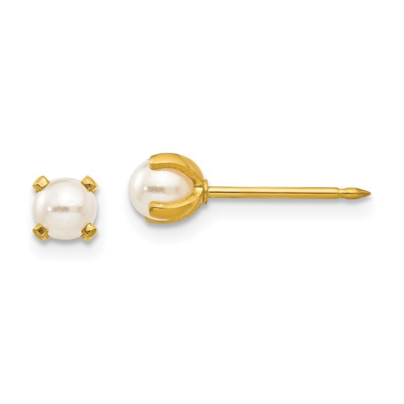 Quality Gold Inverness 24k Plated 4mm Simulated Pearl Earrings