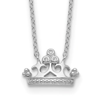 Sterling Silver Rhodium-plated CZ Crown w/2in ext. Necklace