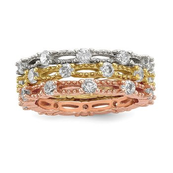 Sterling Silver White Yellow & Rose-tone Set of 3 CZ Eternity Rings