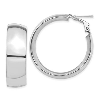 14k White Gold High Polished 10mm Omega Back Hoop Earrings
