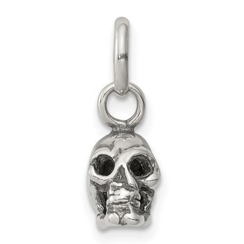 Sterling Silver Antiqued Skull Charm