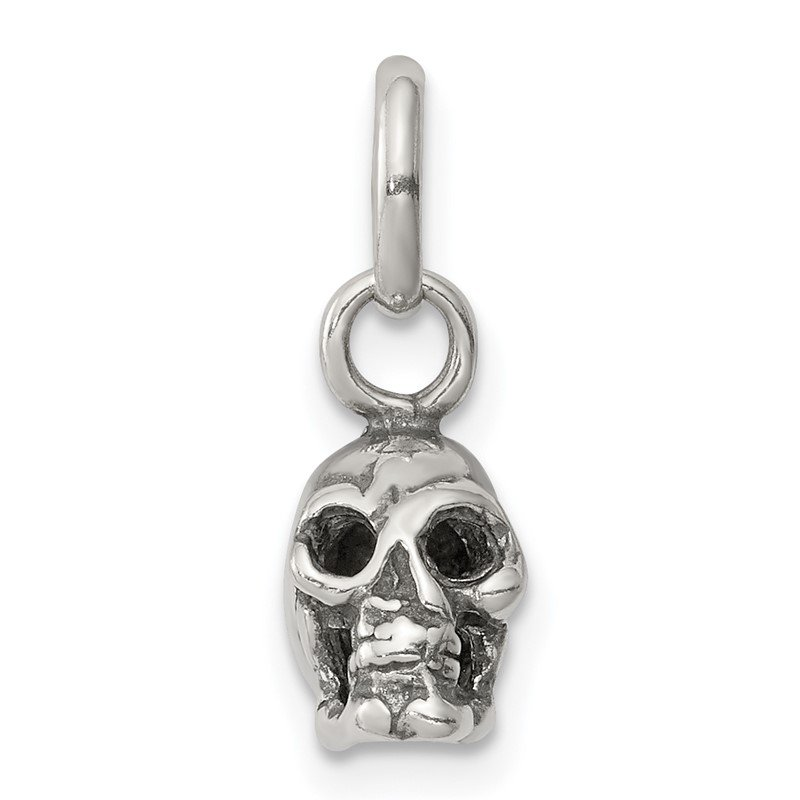 Quality Gold Sterling Silver Antiqued Skull Charm