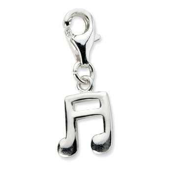 SS RH Polished Beamed Sixteenth Note w/Lobster Clasp Charm
