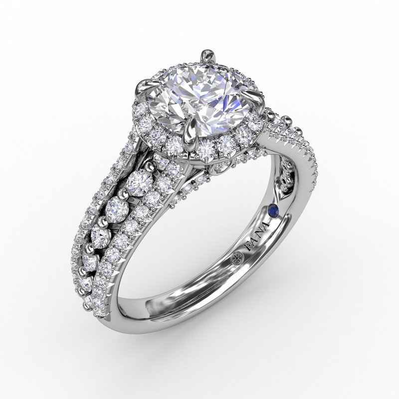 Classic Round Diamond Halo Engagement Ring With Triple-Row Diamond Band