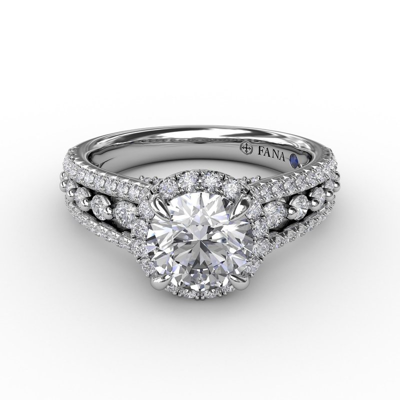 Fana Classic Round Diamond Halo Engagement Ring With Triple-Row Diamond Band