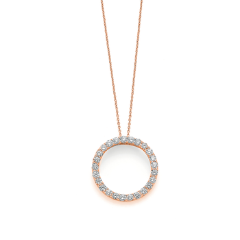18Kt Gold Small Circle Diamond Pendant