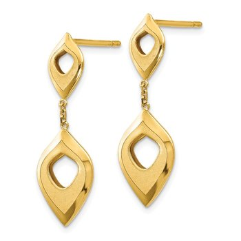 Leslie's 14K Polished and Brushed Post Dangle Earrings