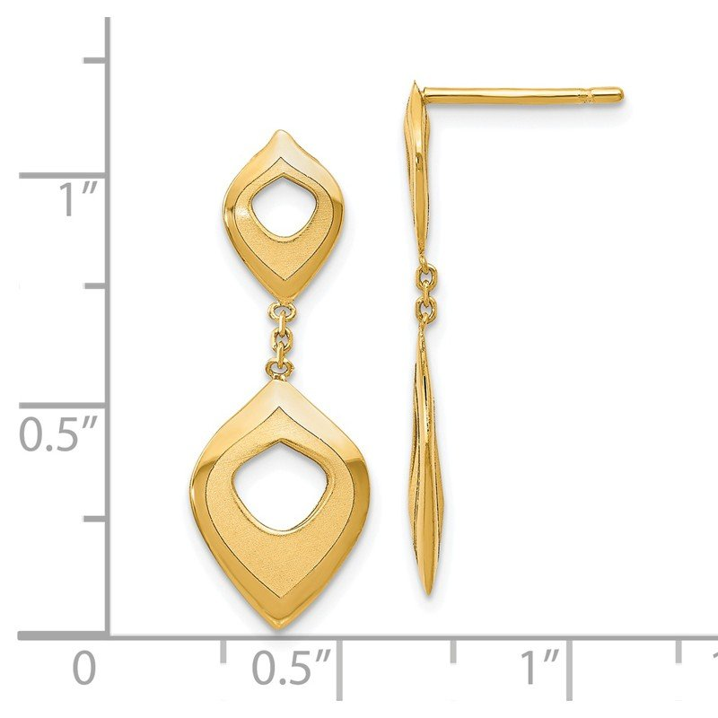 Leslie's Leslie's 14K Polished and Brushed Post Dangle Earrings