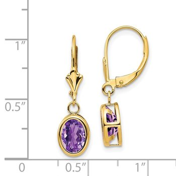 14k 8x6mm Oval Amethyst Leverback Earrings