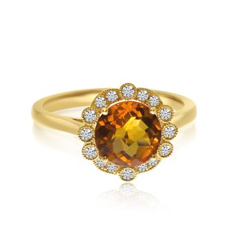14K Yellow Gold Citrine Beaded Halo Diamond Ring