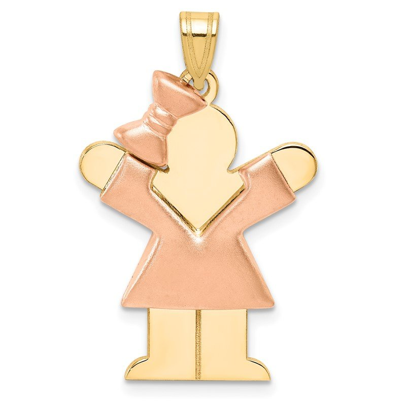 Quality Gold 14k Two-Tone Puffed Girl with Bow on Left Engravable Charm