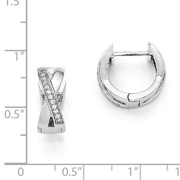 SS Rhodium-Plated CZ Brilliant Embers Hoop Earrings