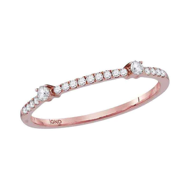 Kingdom Treasures 10kt Rose Gold Womens Round Diamond Single Row Stackable Band Ring 1/6 Cttw