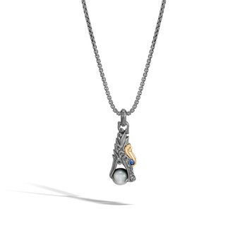 Legends Pendant Necklace, Blackened Silver, 18K Gold with Gem