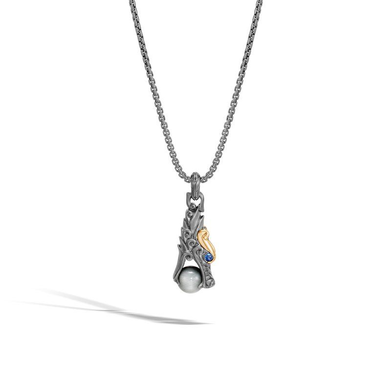 JOHN HARDY Legends Pendant Necklace, Blackened Silver, 18K Gold with Gem