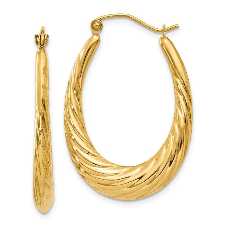 JC Sipe Essentials 14k Polished Twisted Oval Hollow Hoop Earrings