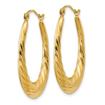 14k Polished Twisted Oval Hollow Hoop Earrings