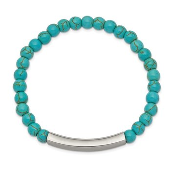 Stainless Steel Polished Reconstructed Turquoise Stretch ID Bracelet