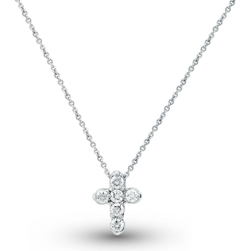 KC Designs Diamond Cross Necklace in 14k White Gold with 6 Diamonds weighing .28ct tw.