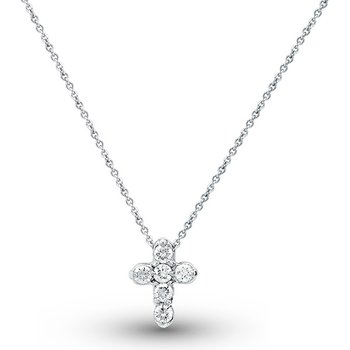 Diamond Cross Necklace in 14k White Gold with 6 Diamonds weighing .28ct tw.