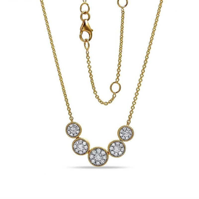 Shula NY 14K round shape necklace with 45 diamonds 0.45C TW