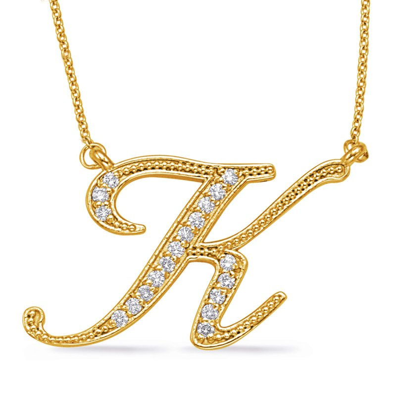 S. Kashi  & Sons Yellow Gold Diamond Initial K Pendant