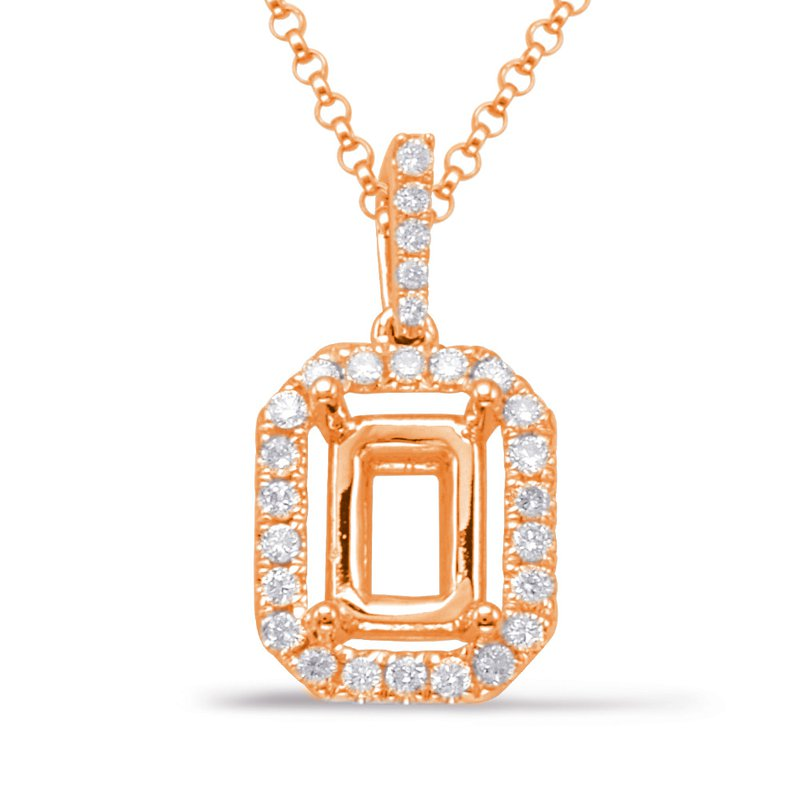 S. Kashi  & Sons Diamond Pendant For 5x3mm Emerald cut