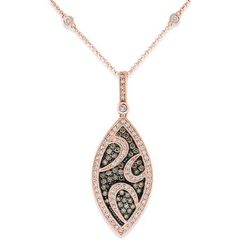 Champagne And White Diamond Marquise Drop Necklace in 14k Rose Gold with 127 Diamonds weighing 1.15ct tw.