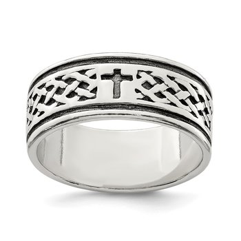 Sterling Silver Cross & Weave Design Ring