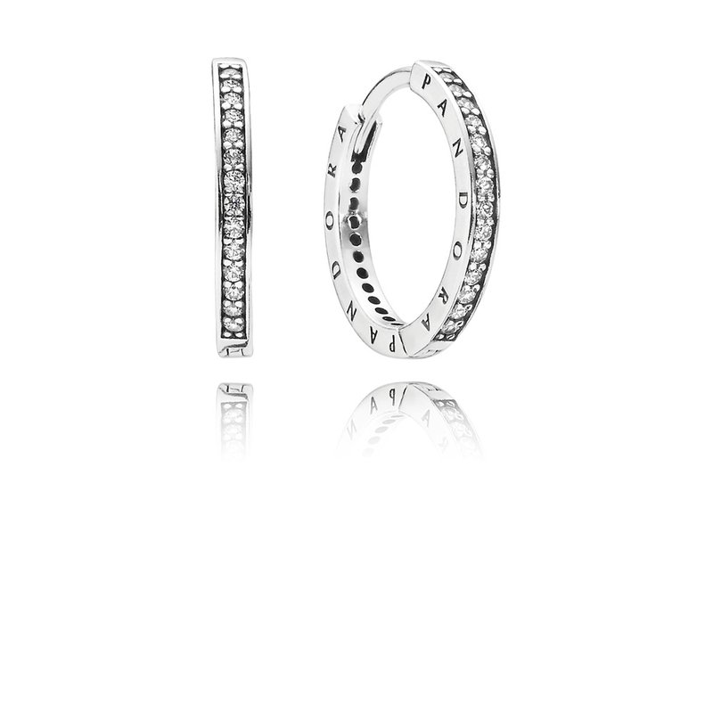 Pandora Pandora Signature Earrings, Clear Cz