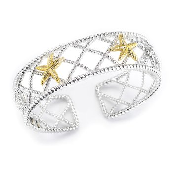 "Sterling Silver and 14K Yellow Bangle with Starfish 3/4"" wide on top"