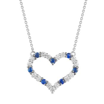 14K Heart Pendant with alternating  5 Sapphires 0.15CT  15 Diamonds 0.27CT