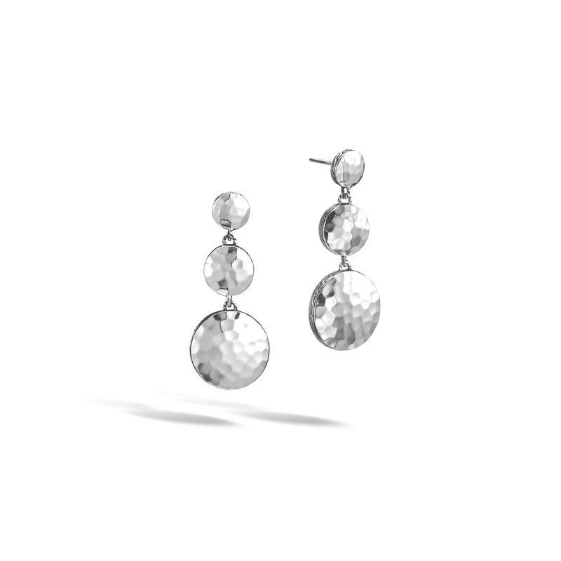 JOHN HARDY Dot Triple Drop Earring in Hammered Silver