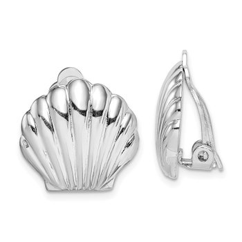 Sterling Silver Rhodium-plated Polished Shell Clip On Earrings