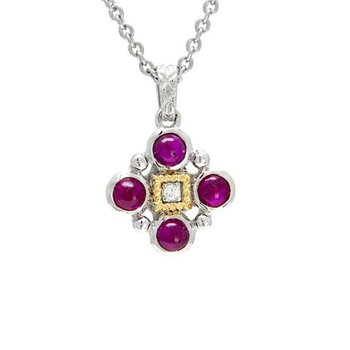 18KT & STERLING SILVER RUBY CABOCHON AND DIAMOND PENDANT WITH CHAIN