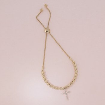 Cross Gold Beaded Bracelet