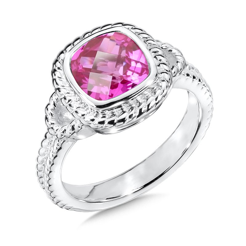 Sterling Silver Created Pink Sapphire Ring
