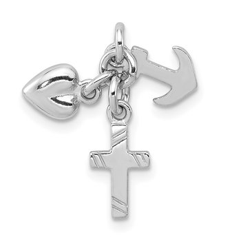 Sterling Silver Rhodium-plated Faith, Hope & Charity Charm