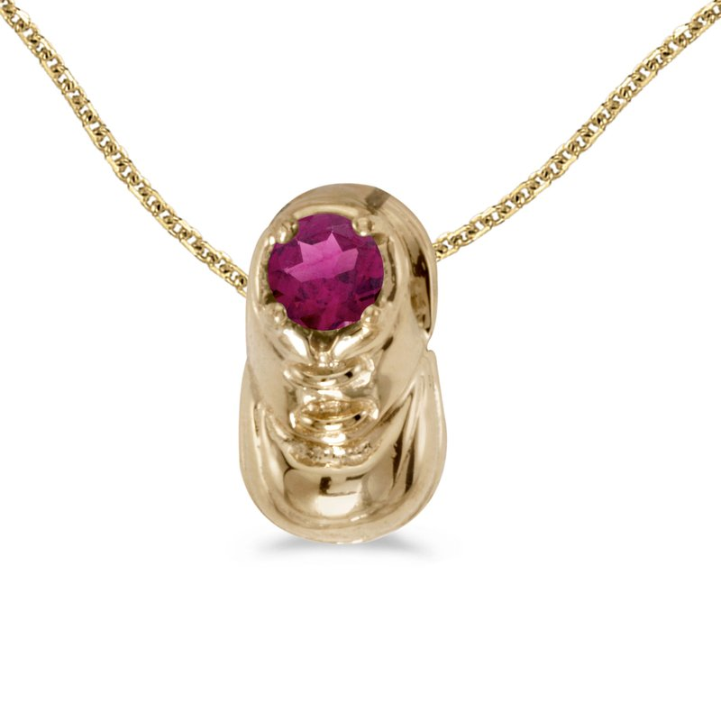 Color Merchants 14k Yellow Gold Round Rhodolite Garnet Baby Bootie Pendant
