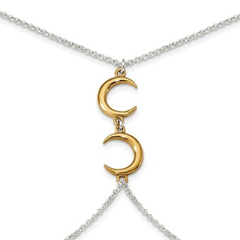 Sterling Silver Gold-tone Crescent Moon 32in w/2in ext Body Chain