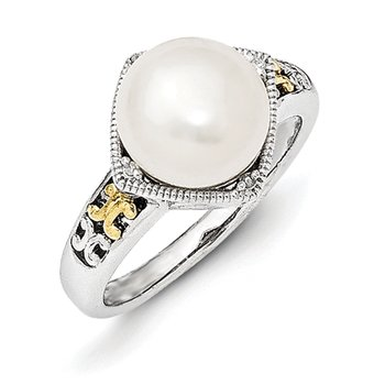 Sterling Silver w/14k FW Cultured Pearl and Diamond Ring