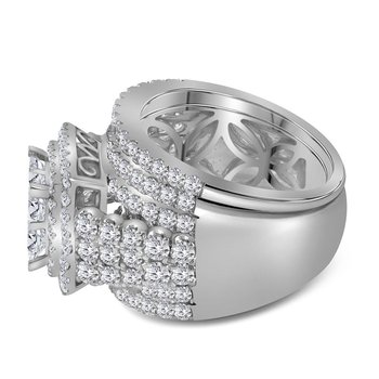14kt White Gold Womens Princess Diamond Bridal Wedding Engagement Ring Band Set 3-3/4 Cttw