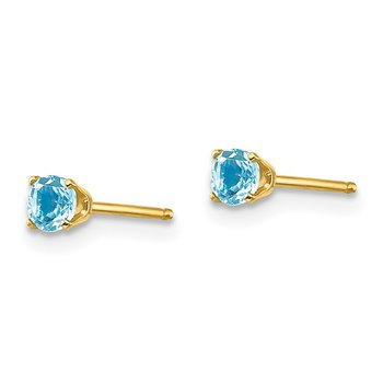 14k 3mm December/Blue Topaz Post Earrings