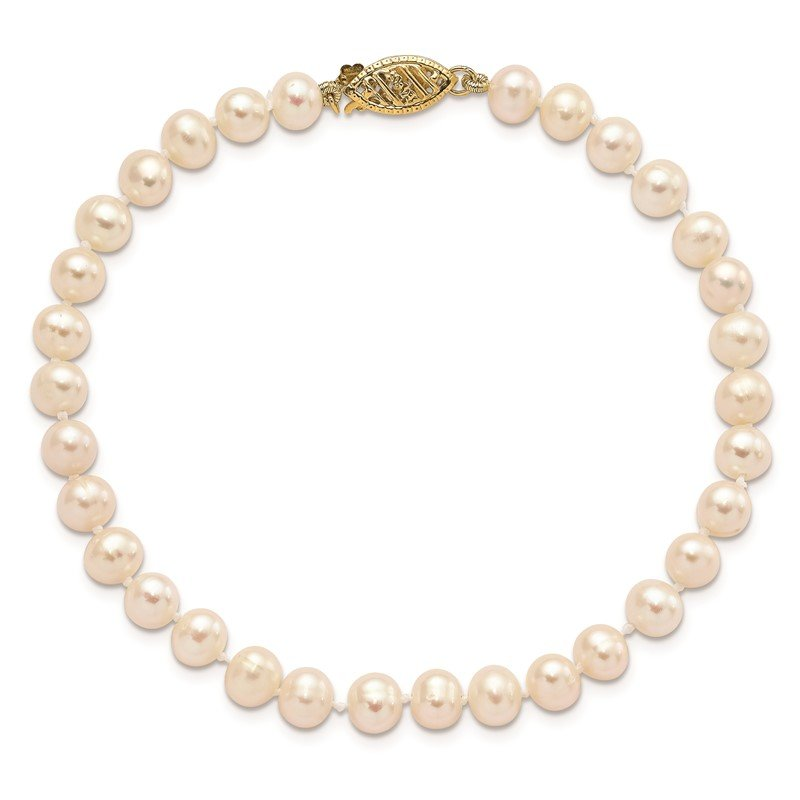 Quality Gold 14k 5-6mm White Near Round Freshwater Cultured Pearl Necklace