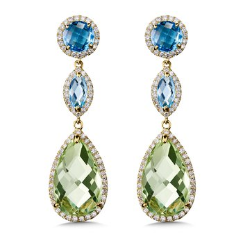 Blue Topaz & Green Amethyst Statement Earrings in 14K Yellow Gold.