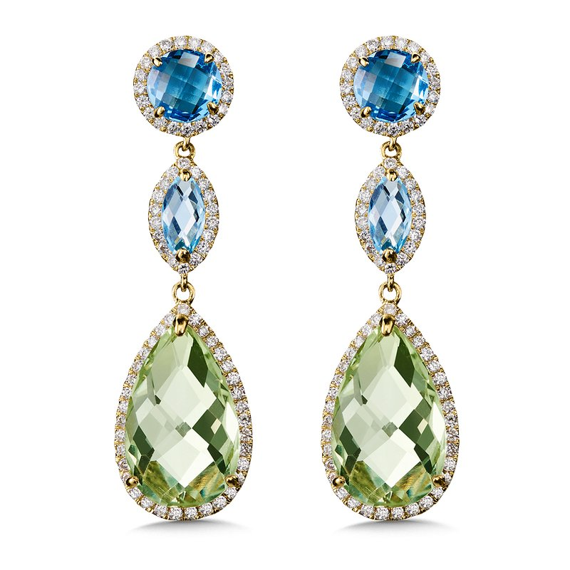 Colore Oro Blue Topaz & Green Amethyst Statement Earrings in 14K Yellow Gold.