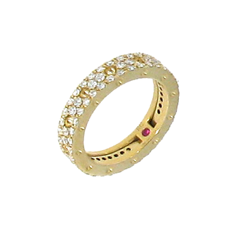 18Kt Gold Eternity Ring With Pave Diamonds