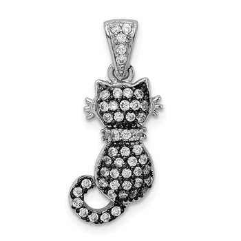 Sterling Silver Rhodium-plated & Antiqued CZ Cat Pendant
